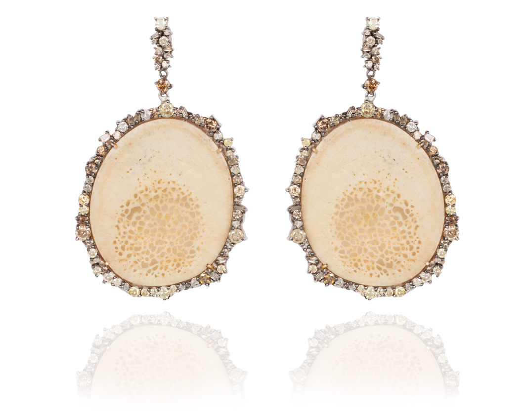 One of a kind fossilized walrus diamond earring with yellow and champagne diamonds - Vincent Peach Fine jewelry