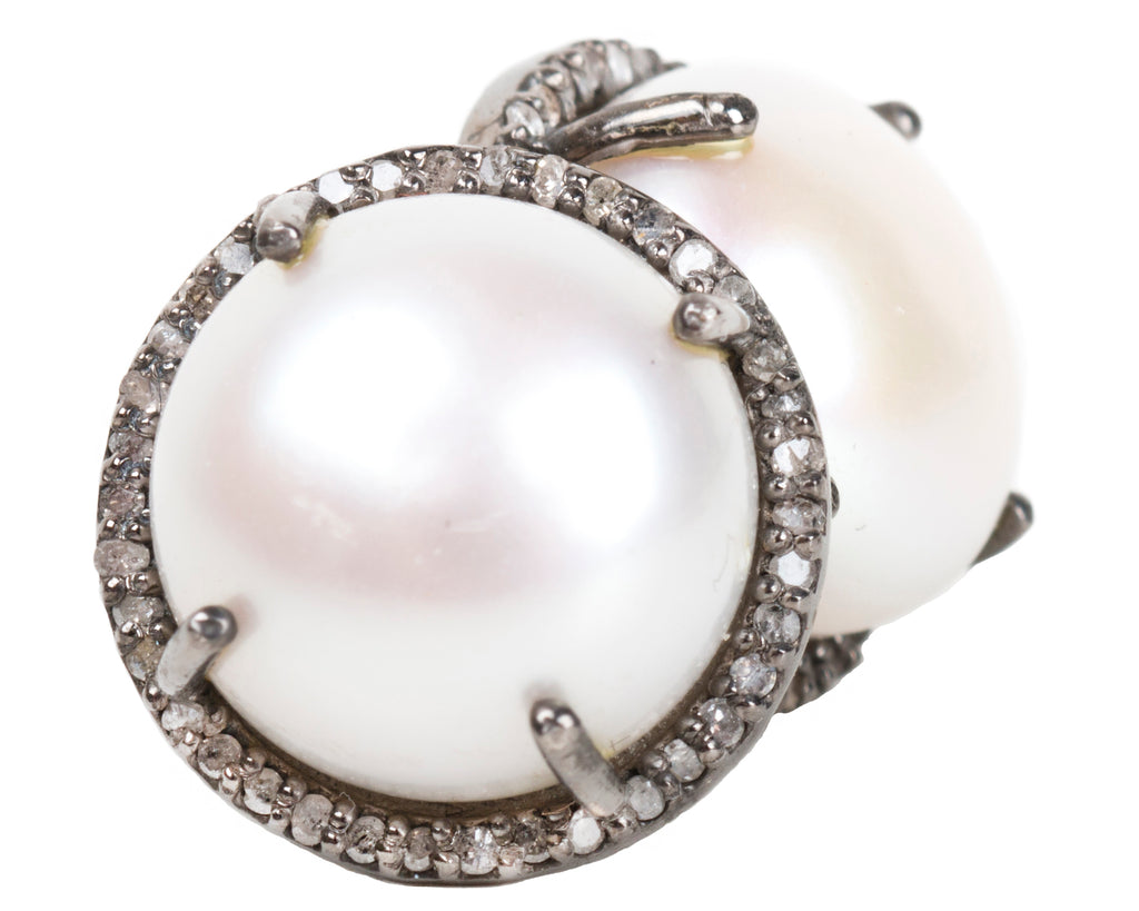 Vincent Peach Diamond and Pearl Luxury Earrings