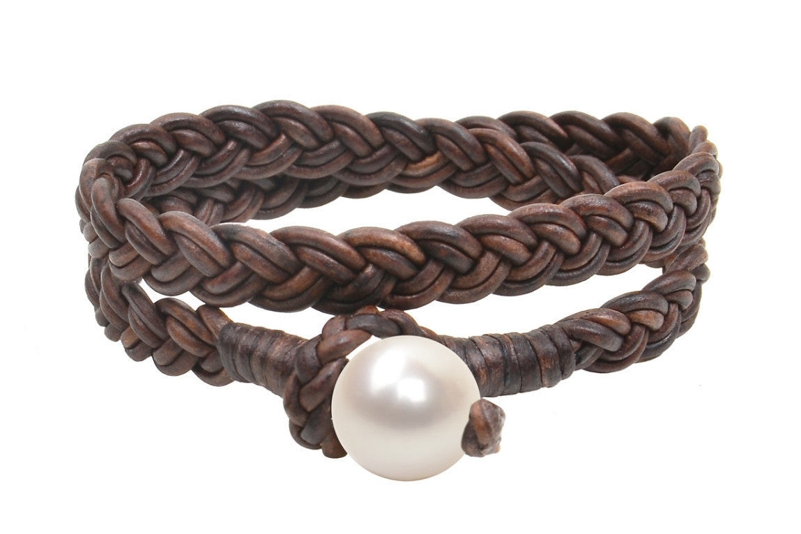 Womens Double Wrap Flat Braid Bracelet, Freshwater - Hottest Designer Pearl and Leather Jewelry | VINCENT PEACH