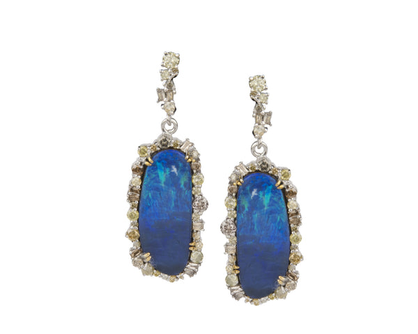Blue Opal Diamond Earrings