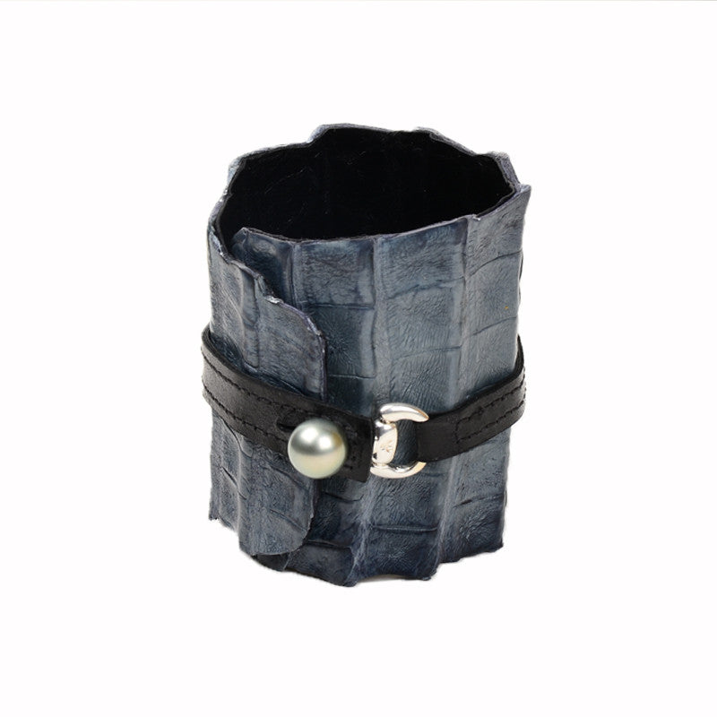 Equestrian Cuff, Blue-Grey - Hottest Designer Pearl and Leather Jewelry | VINCENT PEACH  - 2