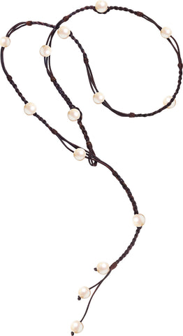 Bohemian Lariat, Freshwater - Hottest Designer Pearl and Leather Jewelry | VINCENT PEACH