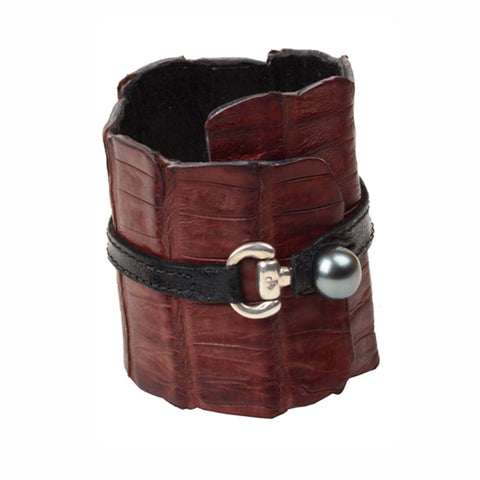 Equestrian Cuff, Brown - Hottest Designer Pearl and Leather Jewelry | VINCENT PEACH  - 1