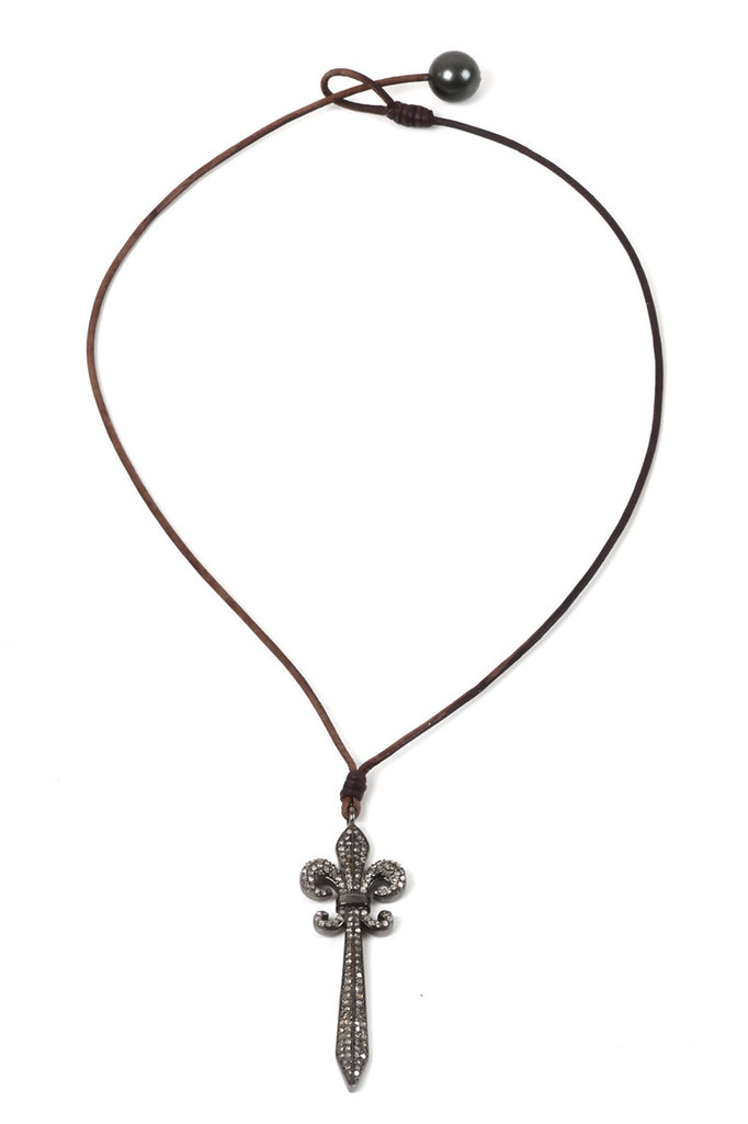 Just Charmed Fleur De Lis Sword Necklace - Hottest Designer Pearl and Leather Jewelry | VINCENT PEACH  - 2