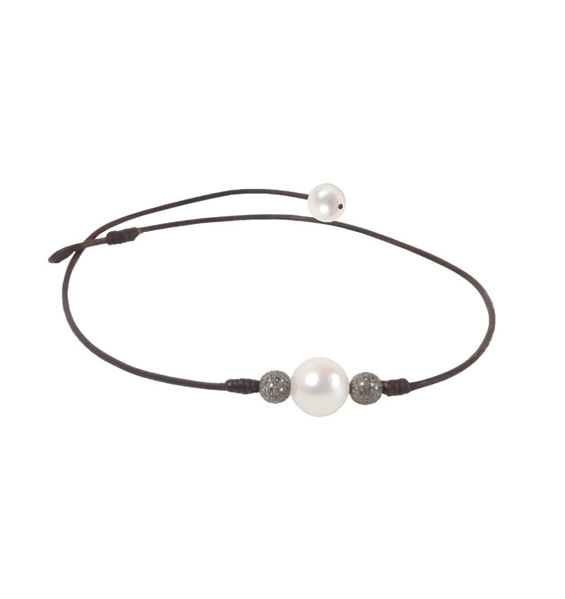 Pave Choker, Freshwater - Hottest Designer Pearl and Leather Jewelry | VINCENT PEACH