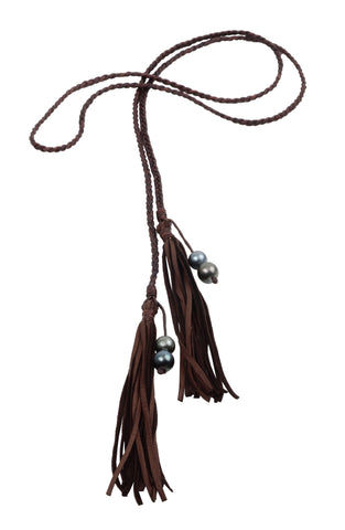 Fringe Bolo, Tahitian - Hottest Designer Pearl and Leather Jewelry | VINCENT PEACH