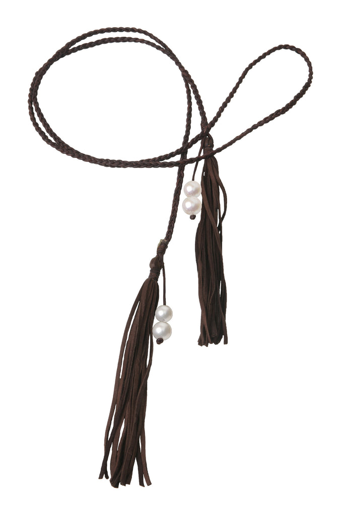 Fringe Bolo, Freshwater - Hottest Designer Pearl and Leather Jewelry | VINCENT PEACH