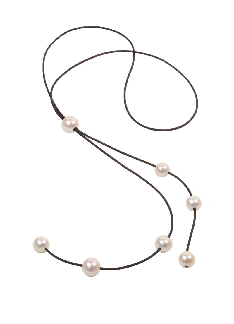 Bolo Cascade Necklace, Freshwater - Hottest Designer Pearl and Leather Jewelry | VINCENT PEACH