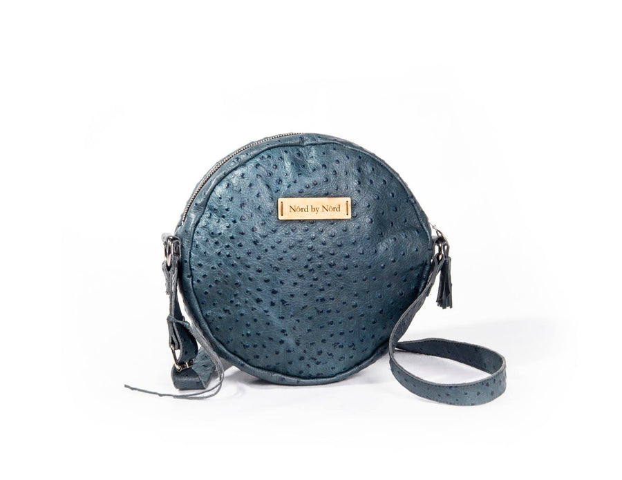 nord by nord, nord by nord bag, nord by nord bags, by nord, nord, round bag, circle bag, blue bag, ostrich bag, fashion bag, leather bags, ostrich leather, danish design, natural leather, leather bag
