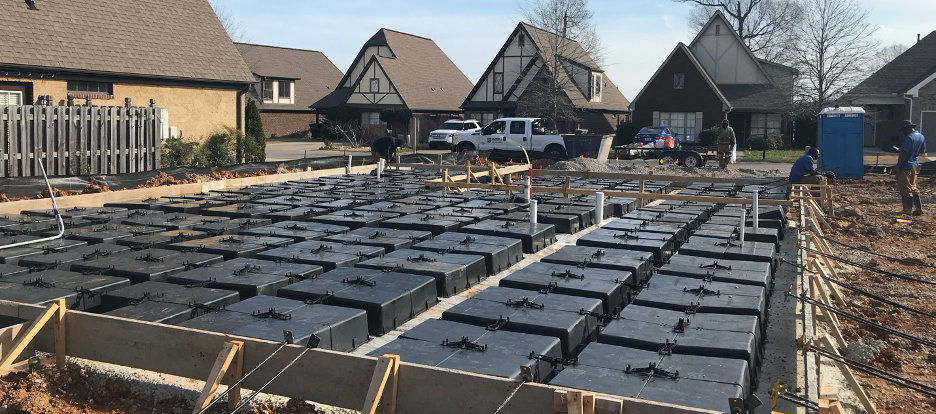 The first step to constructing your Wafflemat waffle slab foundation is to lay out your Waffle Boxes. These boxes are sometimes referred to Waffle Pods.