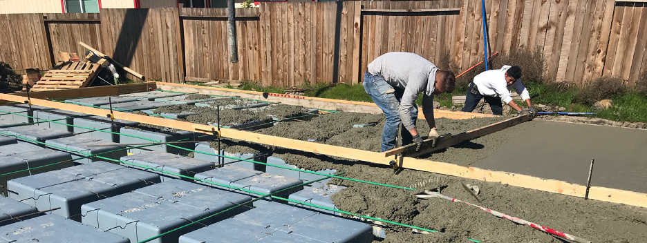 Waffle Boxes are easy to arrange and connect. Once Waffle Boxes have been arranged and Post Tension Cables connected, concrete is ready to pour.