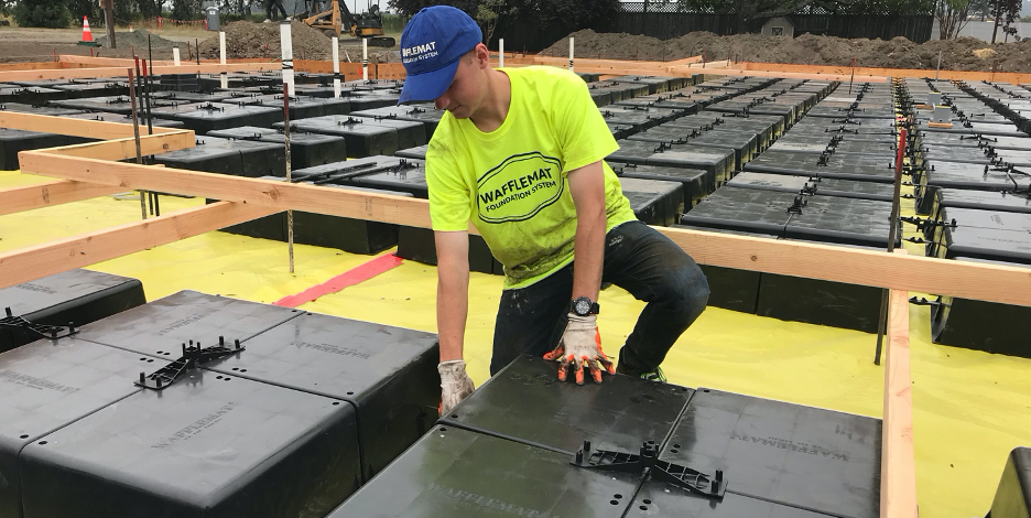 Waffle Slab Foundations by Wafflemat are perfect for any house that sits upon rocky, loose, or hydro collapsible soils.