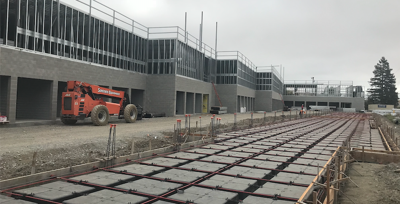warehouse construction, metal building options can all use a waffle concrete slab