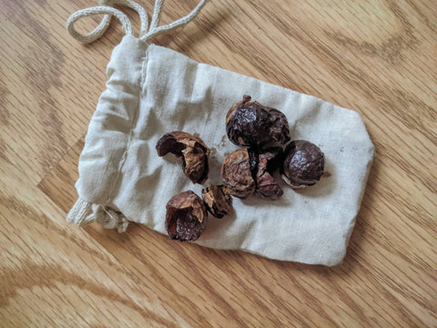 Soap berries on top of cloth bag