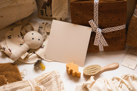 Gifts for a baby in sepia tone