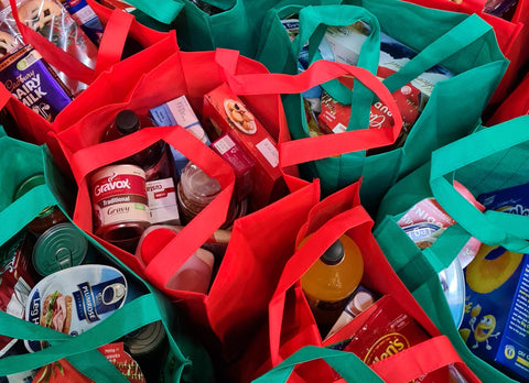 Daily necessities in bags for donating