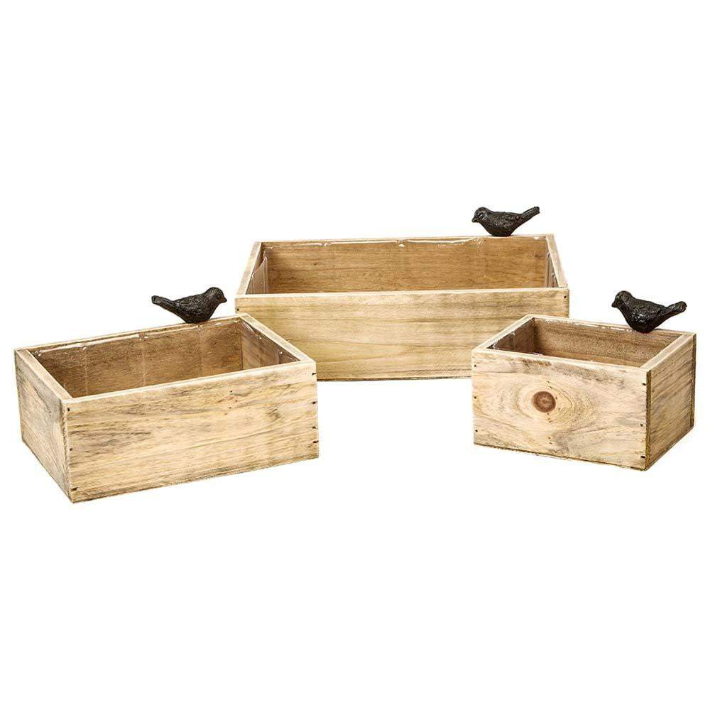 Wood Crate Set with Bird - Oasis Floral Products NA
