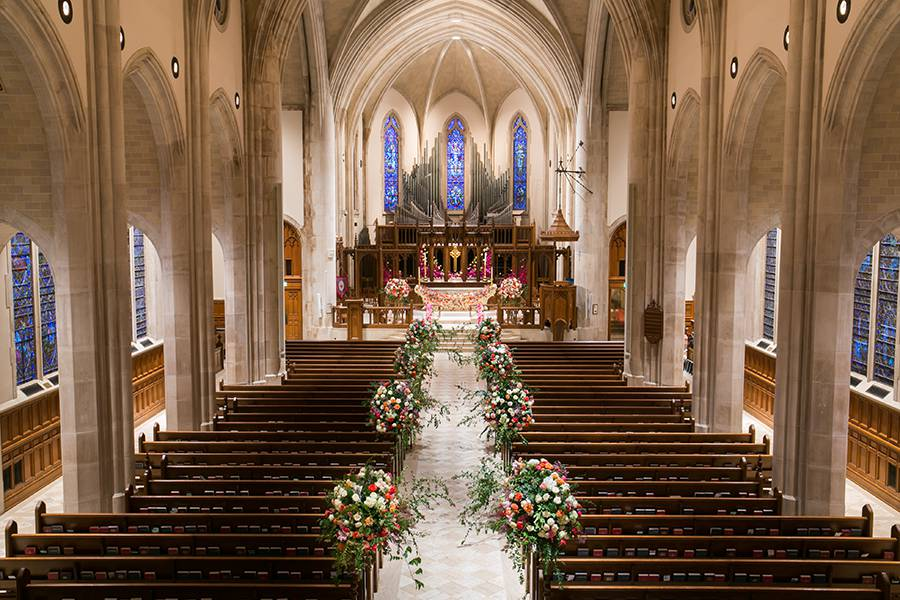 Wedding aisle floral designs