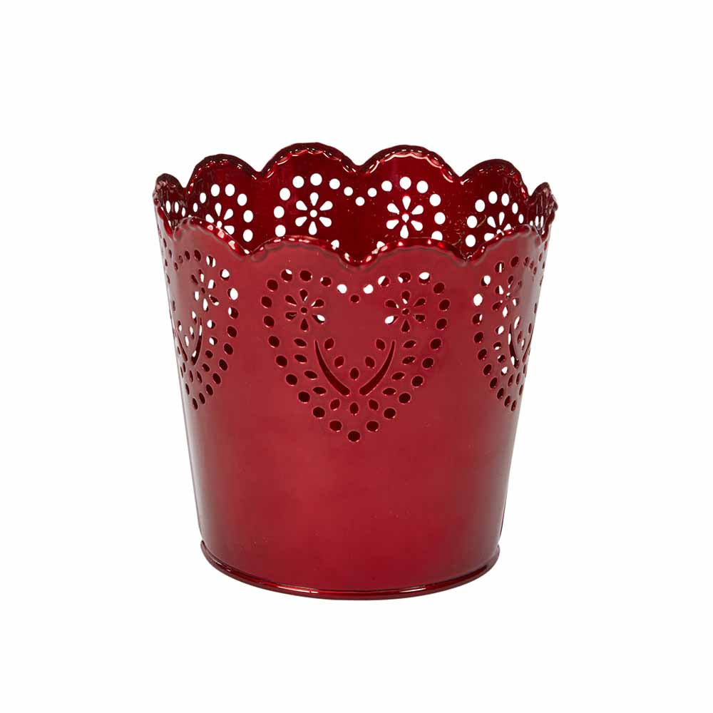 "OASIS 4-1/2"" Tin Pot Heart, Red 