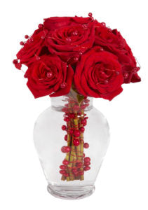 Clear Cheer Holiday Floral Arrangement Vase Centerpiece