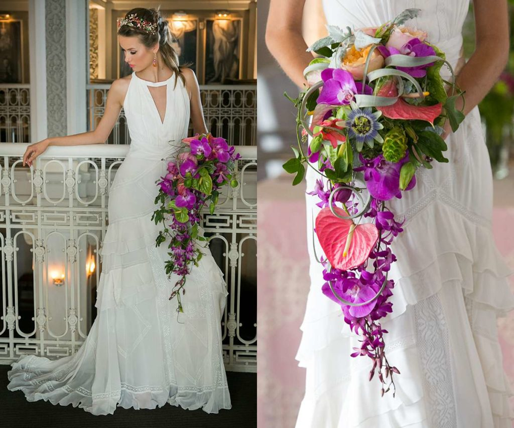 Elegant cascading bridal bouquet tropical flowers