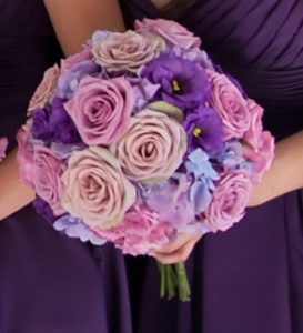 Hand-tied floral wedding bouquet using Wedding Belle Bouquet Holder