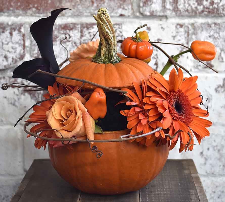 Halloween Pumpkin Floral Centerpiece Midnight foam | OASIS Floral Products