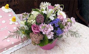 shower floral container design