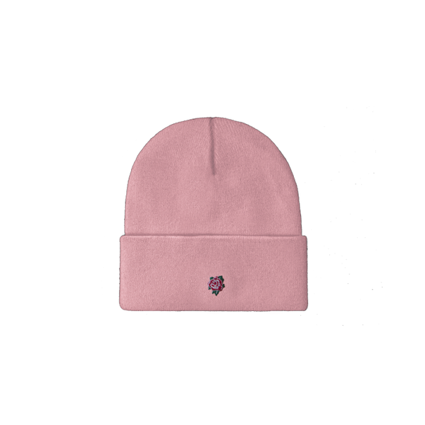 Embroidered Rose Beanie