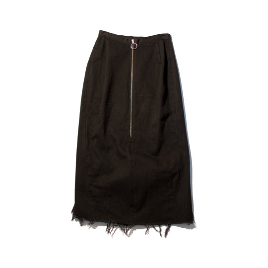 Black Denim Double Slit Skirt