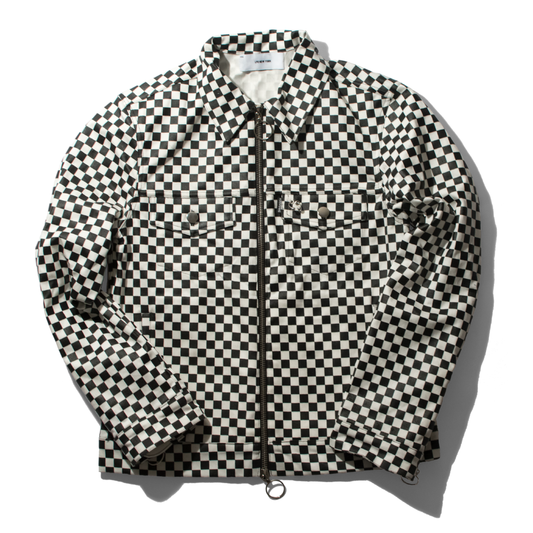 Checkerboard Denim Trucker Jacket
