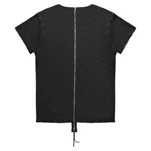 Linen Zipper Back Essential T-Shirt