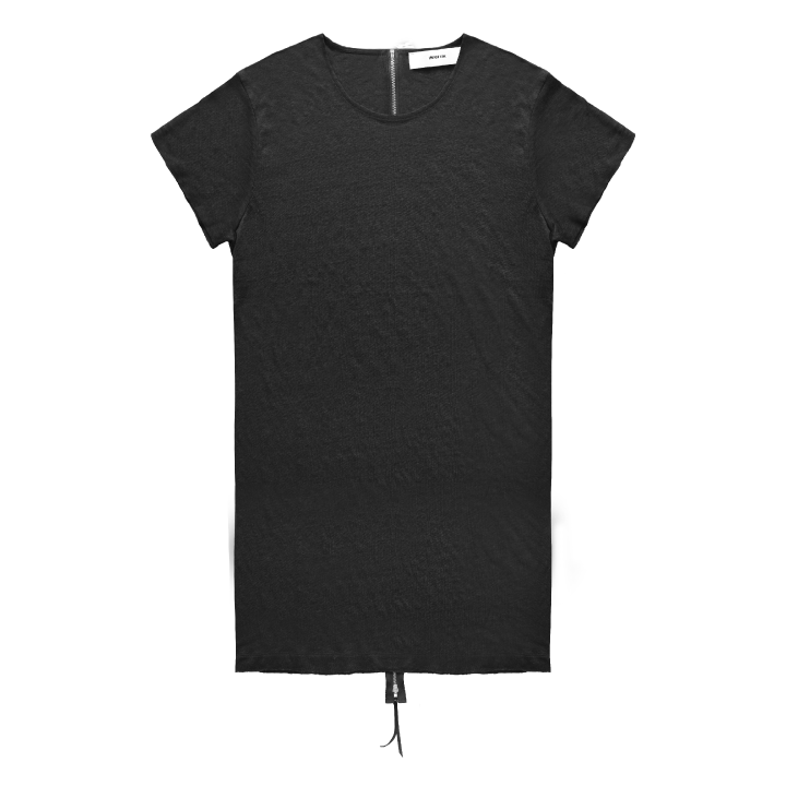 Long Body Linen Zipper Back T-Shirt