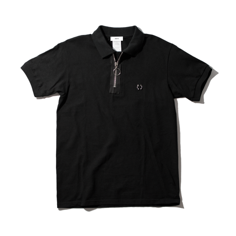 Pierced Zip Neck Polo Shirt