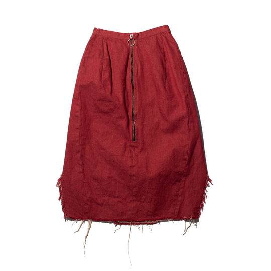 Red Denim Double Slit Skirt