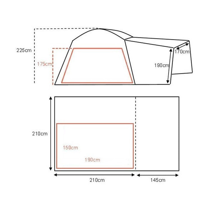 Khyam 2021 Motordome Tailgate Quick Pitch Rear Awning