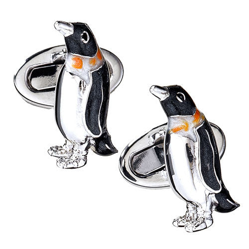 Penguin Cufflinks in Enamel by Jan Leslie
