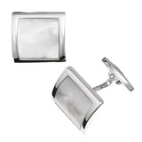 Mother of Pearl Curved Square Gemstone Cufflinks by Jan Leslie