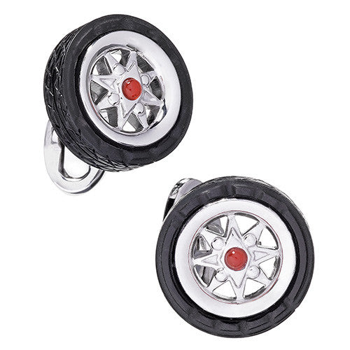 Car Tire Cufflinks by Jan Leslie