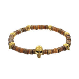 Tribal Men's Skull Bracelet by Jan Leslie - Tan Variation