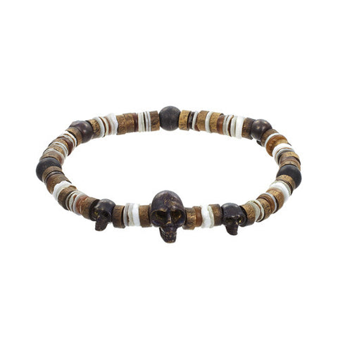 Oxidized Silver Men's Bracelet with Onyx Beads