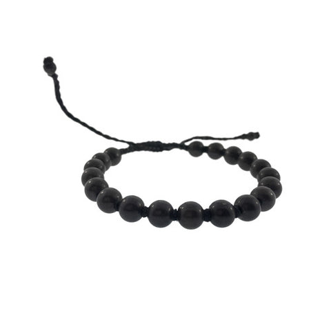 Men's Onyx Bracelet with Pull Cord