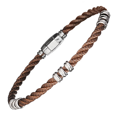 Beaded Sterling Silver Cable Men's Bracelet