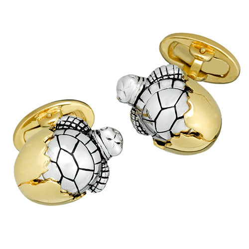 Silver and Gold Hatching Baby Turtle Cufflinks by Jan Leslie