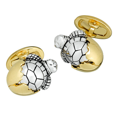 Hatching Two Tone Baby Turtle Cufflinks