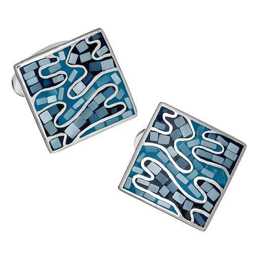 Jan Leslie Blue Camo Gemstone Cufflinks