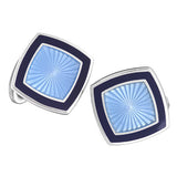 Light Blue with Blue Enamel Soft Square Cufflinks by Jan Leslie
