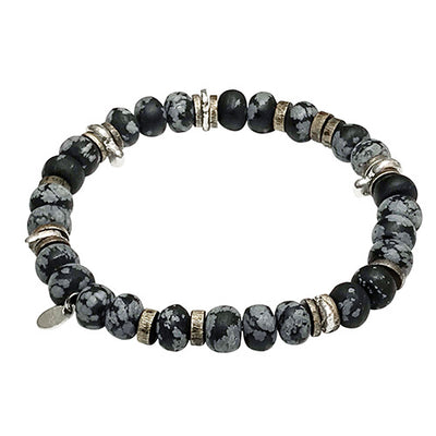 Power Stone Stretch Disc Bead Bracelet Bracelets Jan Leslie Matte Snowflake Obsidian Jan Leslie
