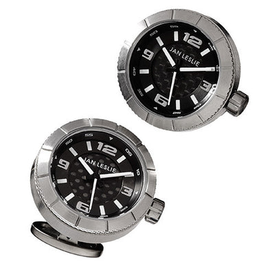 Black Sports Watch Cufflinks by Jan Leslie