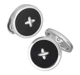 Black Onyx Gemstone Button Cufflinks by Jan Leslie